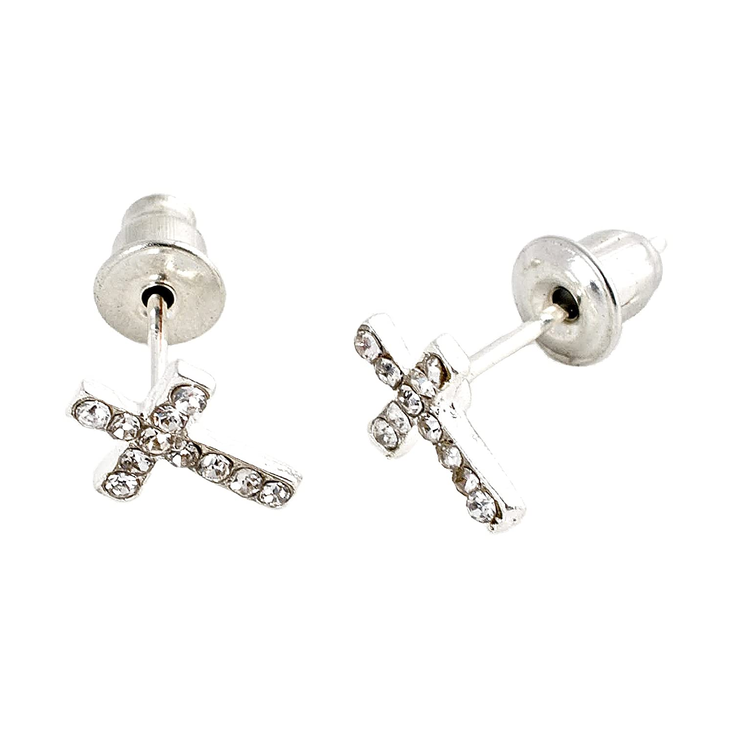 Geralin Gioielli Women Earrings Silver Cross Stud Earrings Unisex Fashion Diamante Rhinestones Vintage