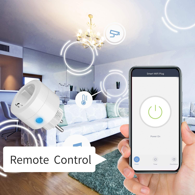 4-pack Funci/ón de Temporizador, Enchufe WiFi Compatible con Alexa y Google Home UCOMEN Enchufe Inteligente APP Control Remoto