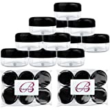 (Quantity: 12 Pieces) Beauticom 15G/15ML (0.5oz) Clear Round Jar with Black Lids for Cosmetics, Medication, Lab and Field Research, Beauty and Health Aids - BPA Free