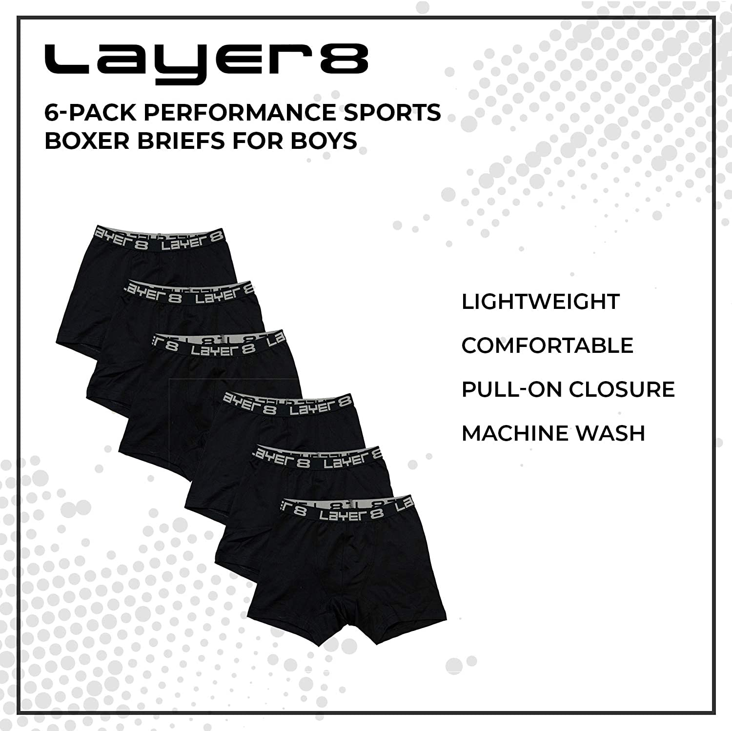 Layer 8 Big Boys 6-Pack Performance Sports Boxer Briefs
