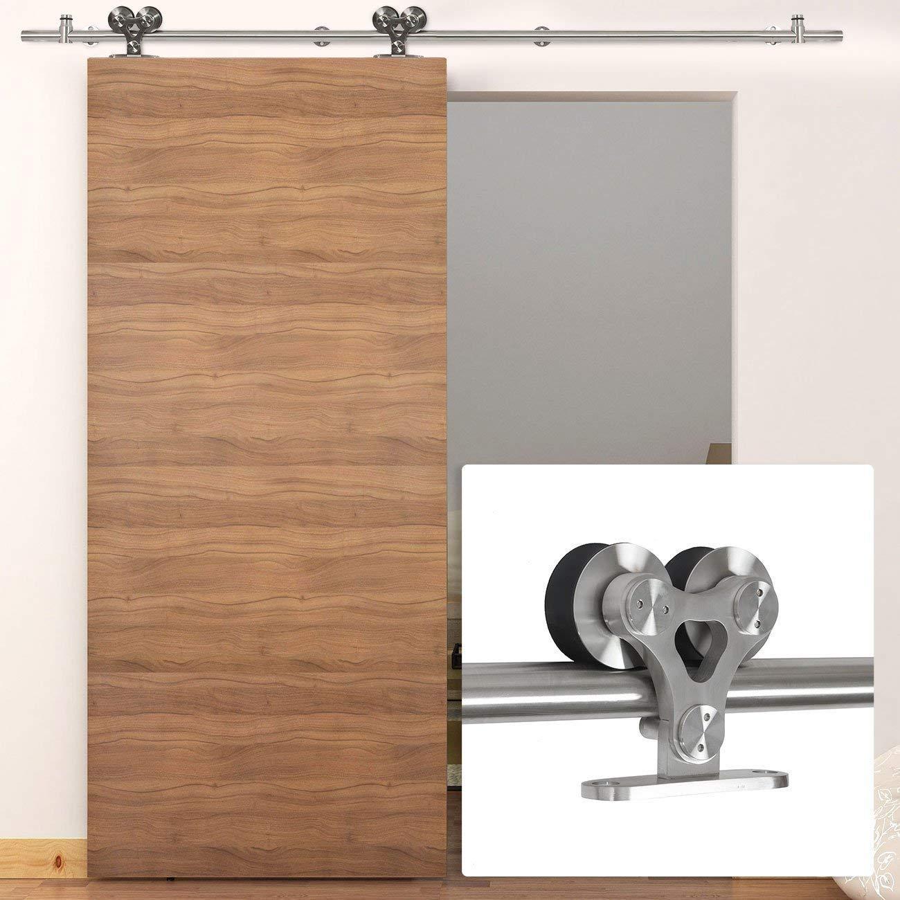 B-Line 8 ft Modern Sliding Barn Door Track Hardware Stainless Handles