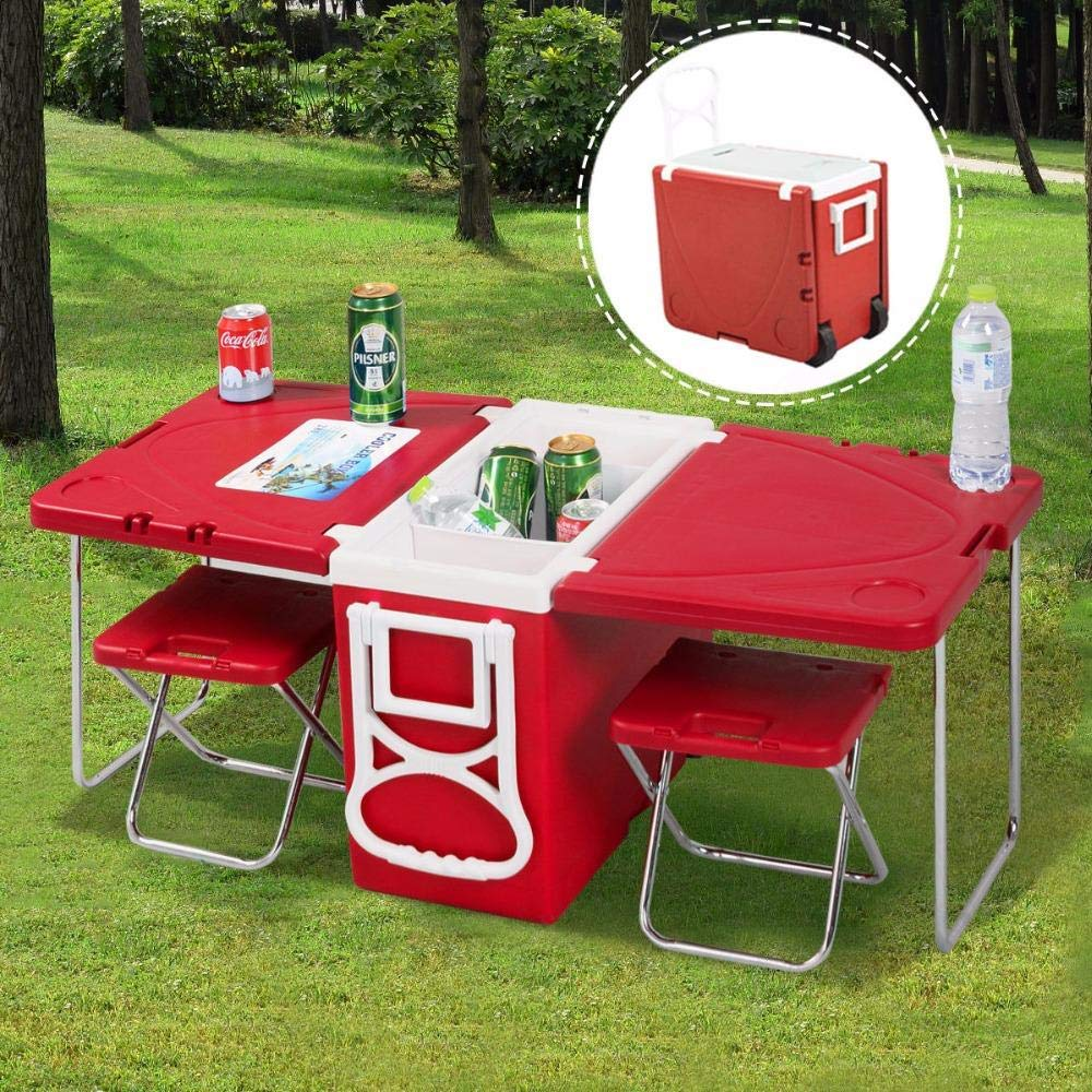 Multi Function Foldable Rolling Cooler Box Picnic Camping Outdoor Furniture Set
