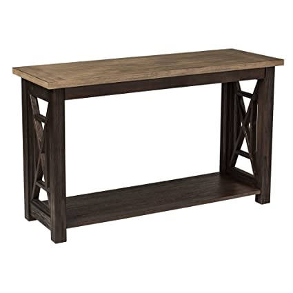 Rustic Modern Entryway Accent Sofa Table With Open Storage Shelf, Solid  Wood Construction + Expert