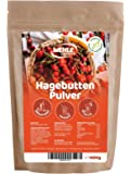 Hagebuttenpulver 1kg naturrein glutenfrei Rohkost-Qualität - Hagebuttenfrüchte gemahlen ohne Zusätze - ganze Hagebutten - Wehle Sports 1000g Packung