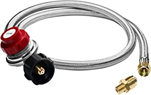 ANCOZY 5Ft Feet 0-20 PSI Adjustable Propane Regulator with Braided Stainless Steel LP/LPG Hose Kit for QCC1 Propane Tank, Fits for BBQ Grill, Turkey Fryer, Propane Burner - 3/8'' Female Flare Fitting