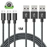 [Pack de 3]Câble Micro USB 1M,ONSON Câble Chargeur USB Micro USB Samsung de Cordon Nylon Tressé Connecteur en Aluminium pour Samsung Galaxy S7 Edge / S6 / S5 / S4 / S3, Note 5 / 4 / 3,HTC,LG(Noir)