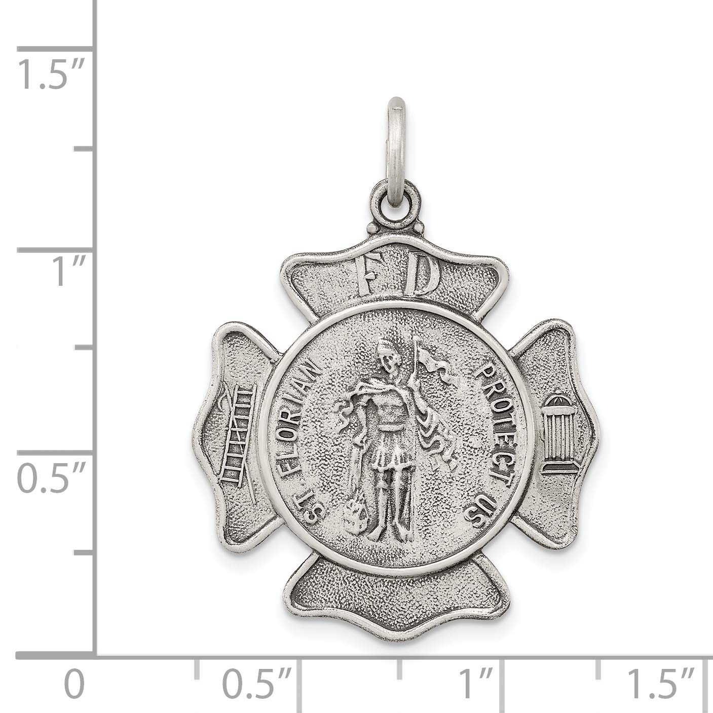 Protect Us Words On Saint Florian Firefighter Badge Charm In Antiqued 925 Sterling Silver 35x27mm