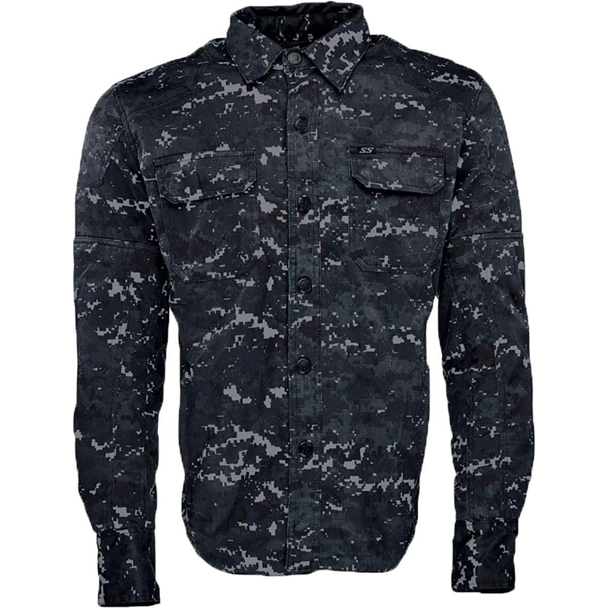 Speed and Strength Call to Arms Shirt Mens Street Motorcycle Jacket Blue//Camo//Large