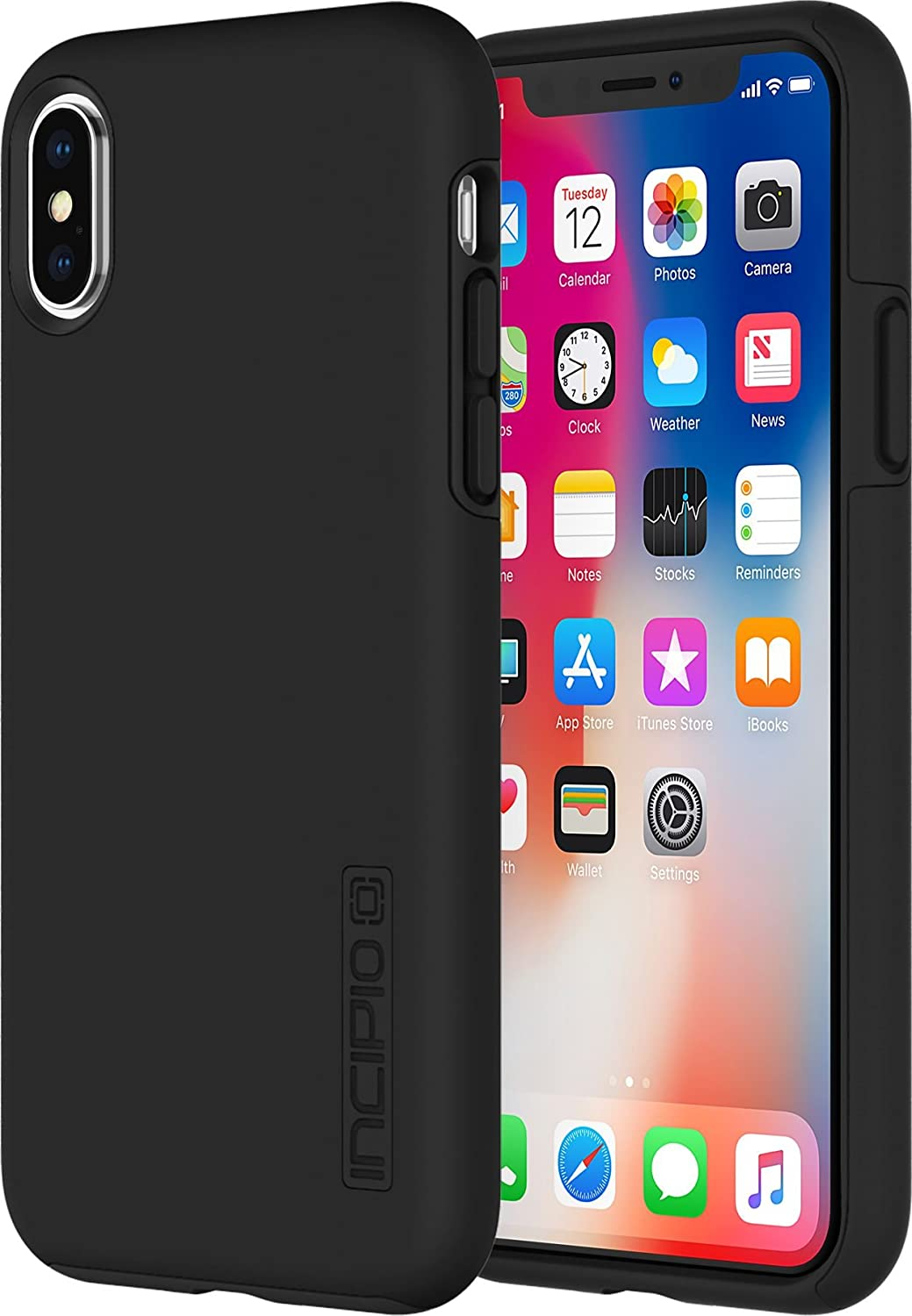 newest d1424 f0780 Incipio DualPro Case Cover for iPhone X - Black,IPH-1629-BLK
