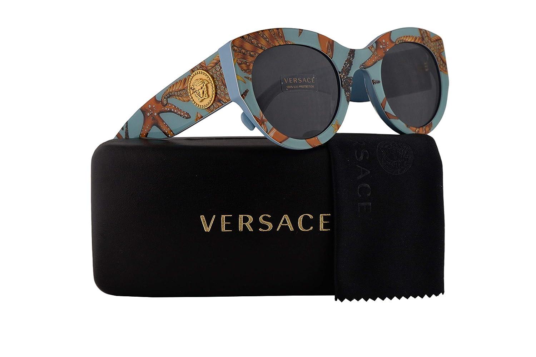 f0b698729ba23 Amazon.com  Versace VE4353 Sunglasses Sea Azure w Grey Lens 51mm 528487 VE  4353  Clothing