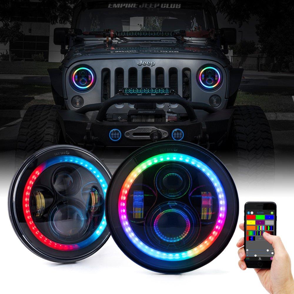 Xprite 7'' LED Headlights with RGB Chasing Halo for 1997-2017 Jeep Wrangler JK TJ LJ,80W CREE LED Chip