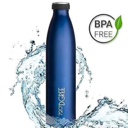 720°DGREE Botella Agua Acero Inoxidable milkyBottle – 750 ml, 750ml, Azul | Novedoso Antigoteo con Termo de vacío térmico termica Beber en el Camino ...