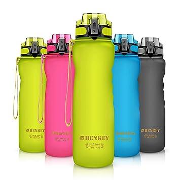 Botella de Agua Deportiva, SHENKEY Plástico Libre de BPA y ecológico Reutilizable Prueba de Fugas Botellas de Agua de 1L con Filtro Ideal para ...
