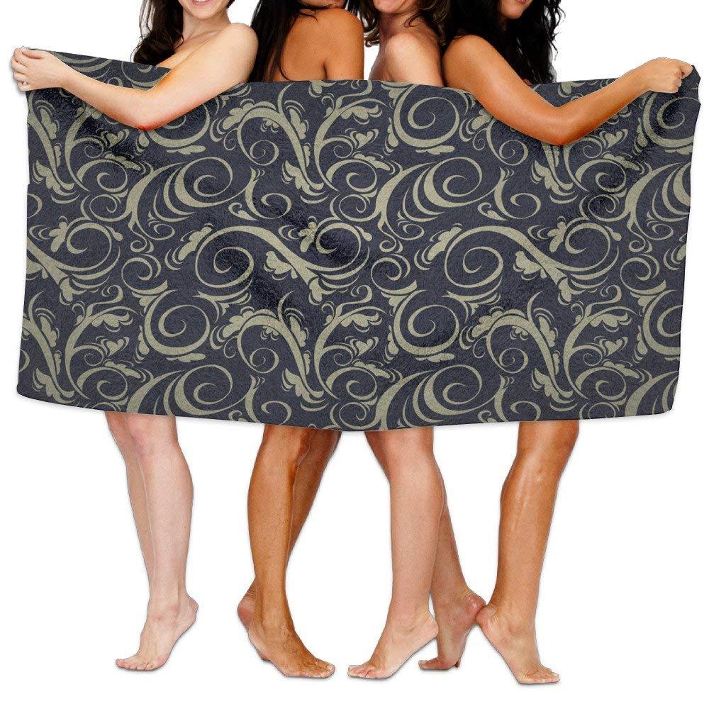Chu warm Beach Towel Whirly Spiral Damask Unique Microfiber Absorbent Print Towel Pool