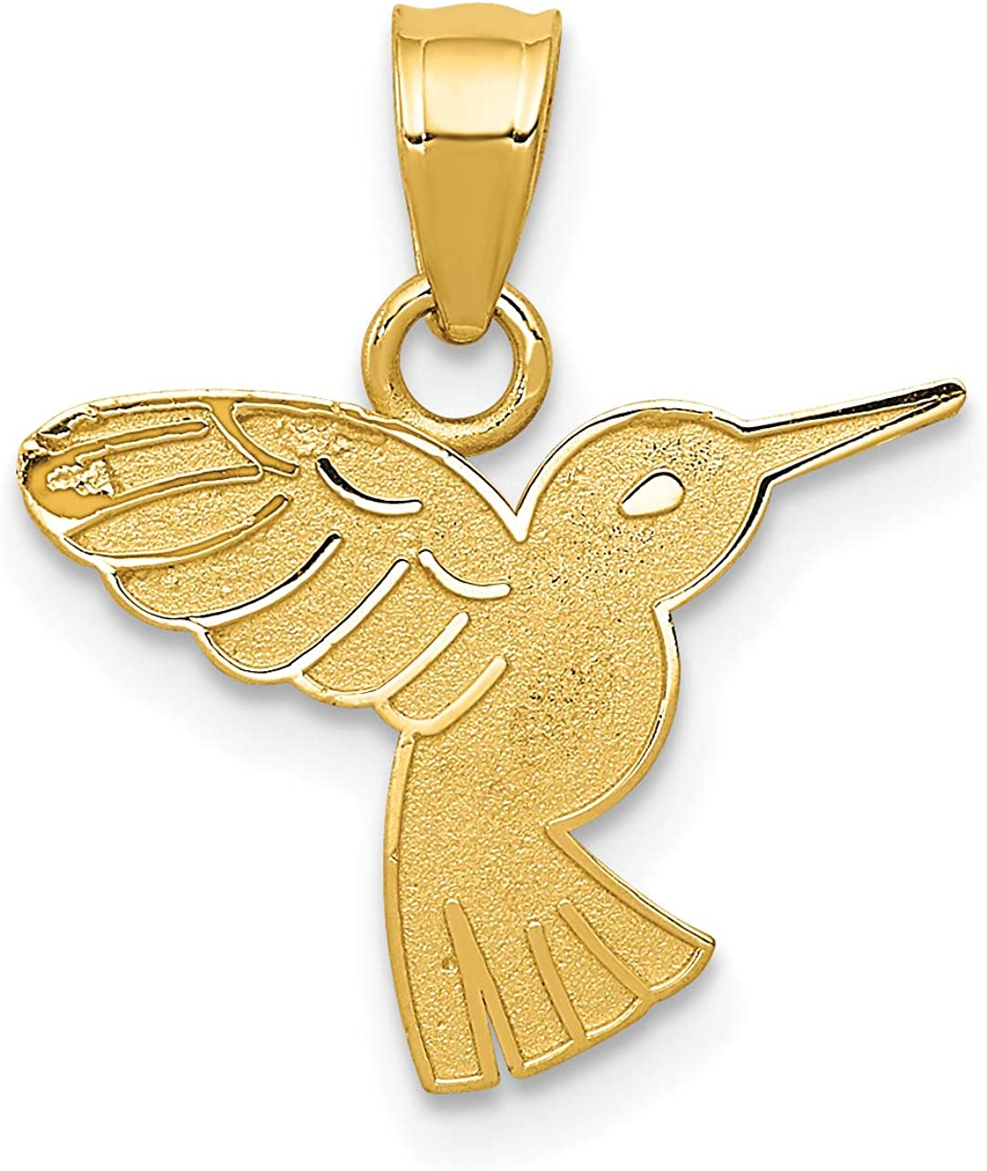 14k Yellow Gold Small Hummingbird Pendant 13x15mm