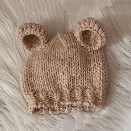 TOYMYTOY Accesorios de fotografía recién nacidos Sombrero de punto lindo Gorro de fotografía de niñas con osito de ganchillo (Beige)