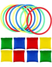 OOTSR 16pcs Nylon Bean Bags and Plastic Rings, Toss Game Sets for Kids Bean Bags Toss Game Booth Carnival Garden Backyard Outdoor Games Speed and Agility Training Games