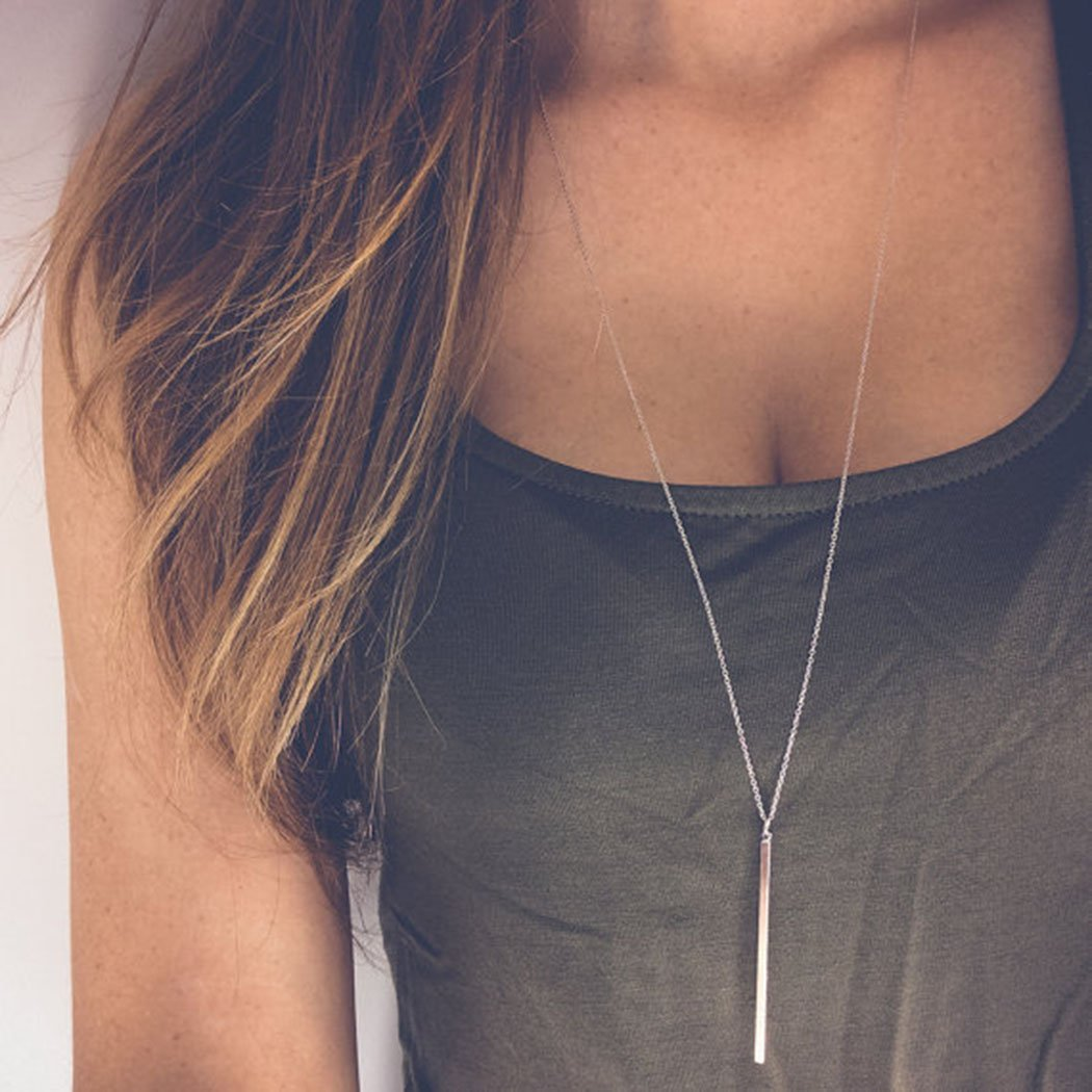 Barogirl Simple Necklaces Jewelry Vertical Feather Bar Pendant Necklace Long Chain for Women (Silver A) by Barogirl (Image #3)