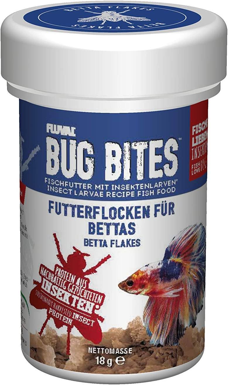 Fluval Bug Bites Color Enhancing Fish Food for Betta Fish, Flakes for Small to Medium Sized Fish, 0.63 oz., A7366, Brown