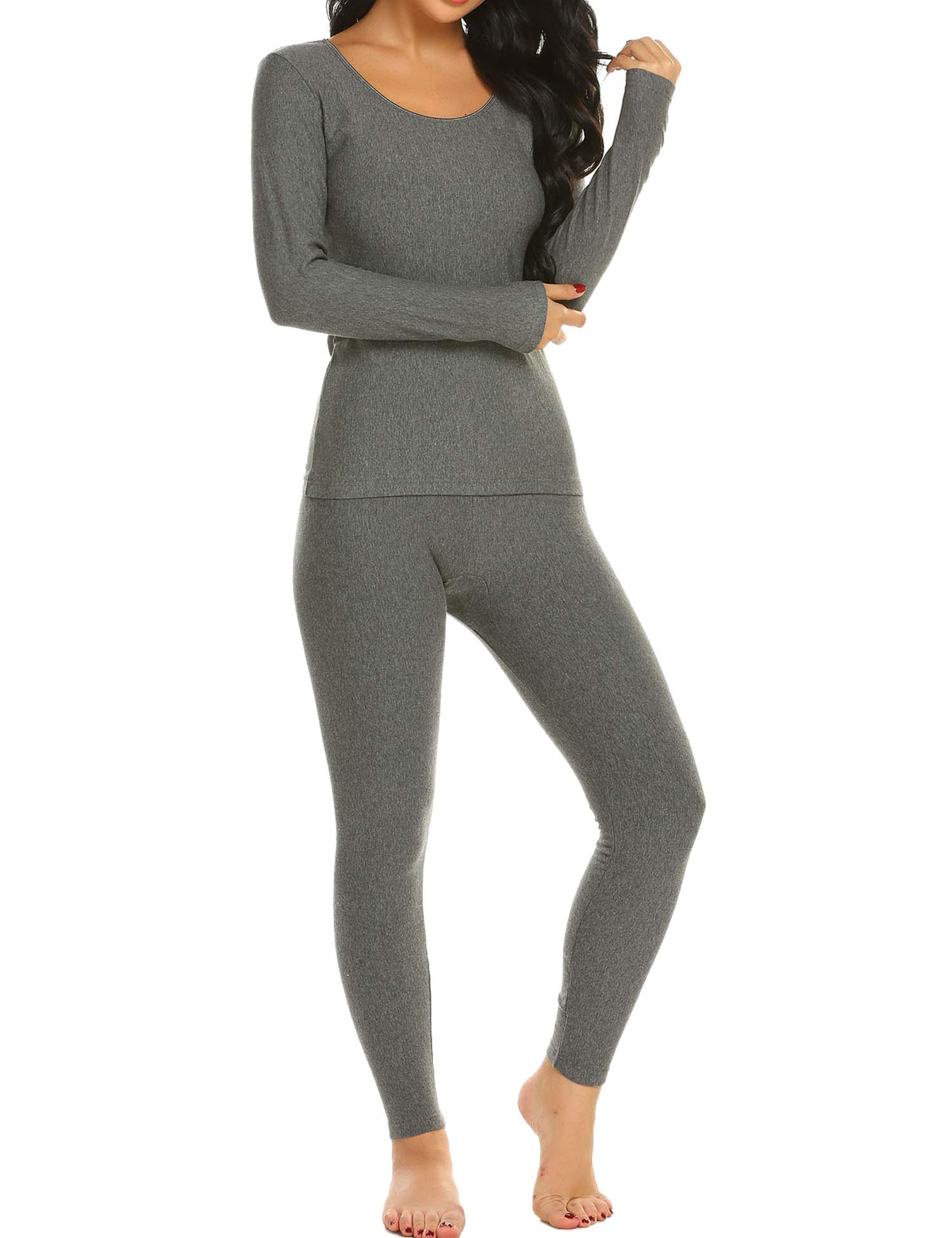 Ekouaer Long Thermal Underwear Fleece Lined Winter Base Layering Set for Women,Fleece-dark Gray,Large by Ekouaer