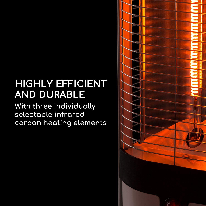 Blumfeldt Megalith /• Estufa de Exteriores /• Calentador de jard/ín /• Calefactor de Carbono /• Infrarrojos /• 2700 W /• Mando a Distancia /• LED 18 W /• Protecci/ón contra salp/ícaduras /• Blanco