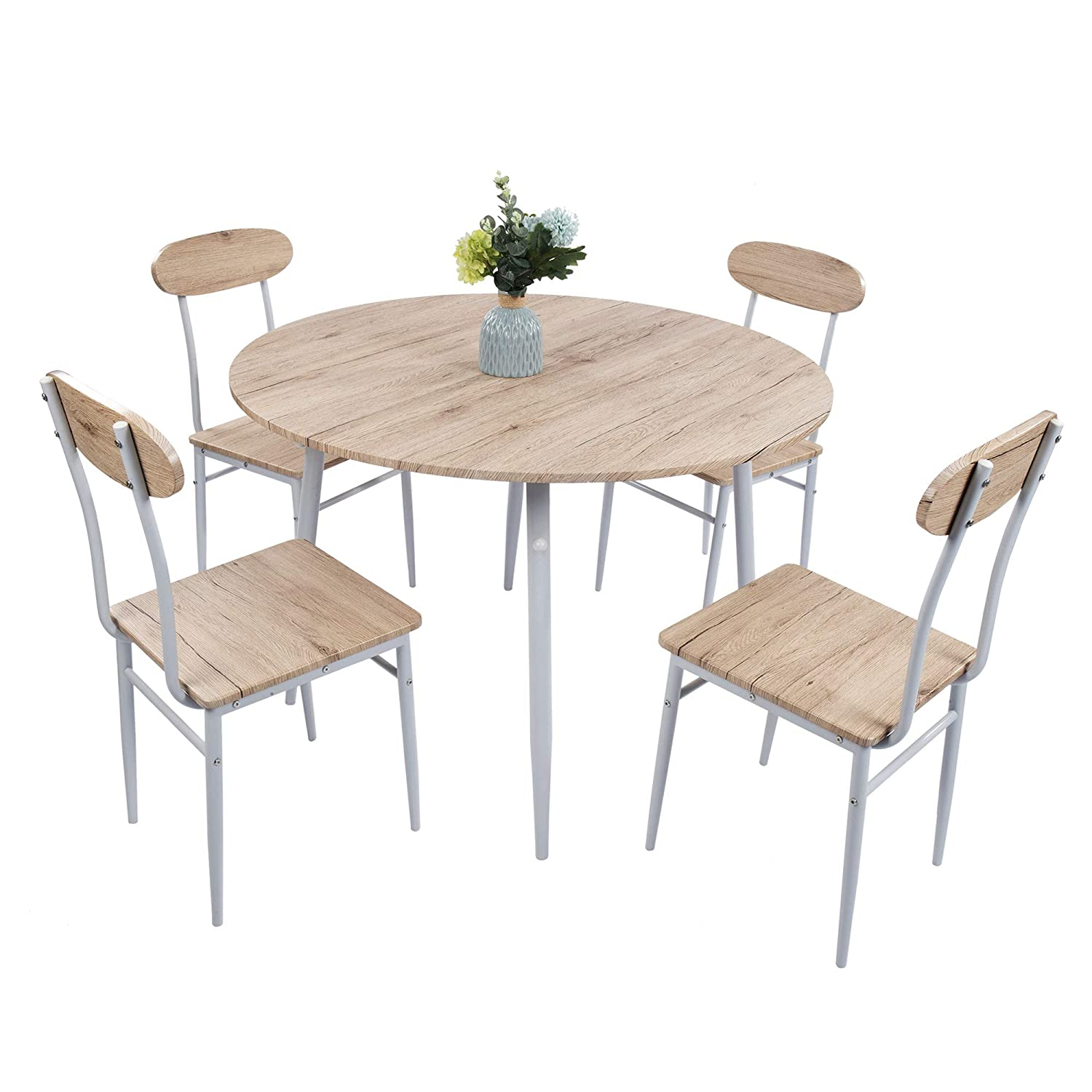 Lucky Tree 5 Piece Kitchen Table and Chairs for 4 Dinning Room Table Set Wood Round Table Chairs Dinette Table Set Modern Design