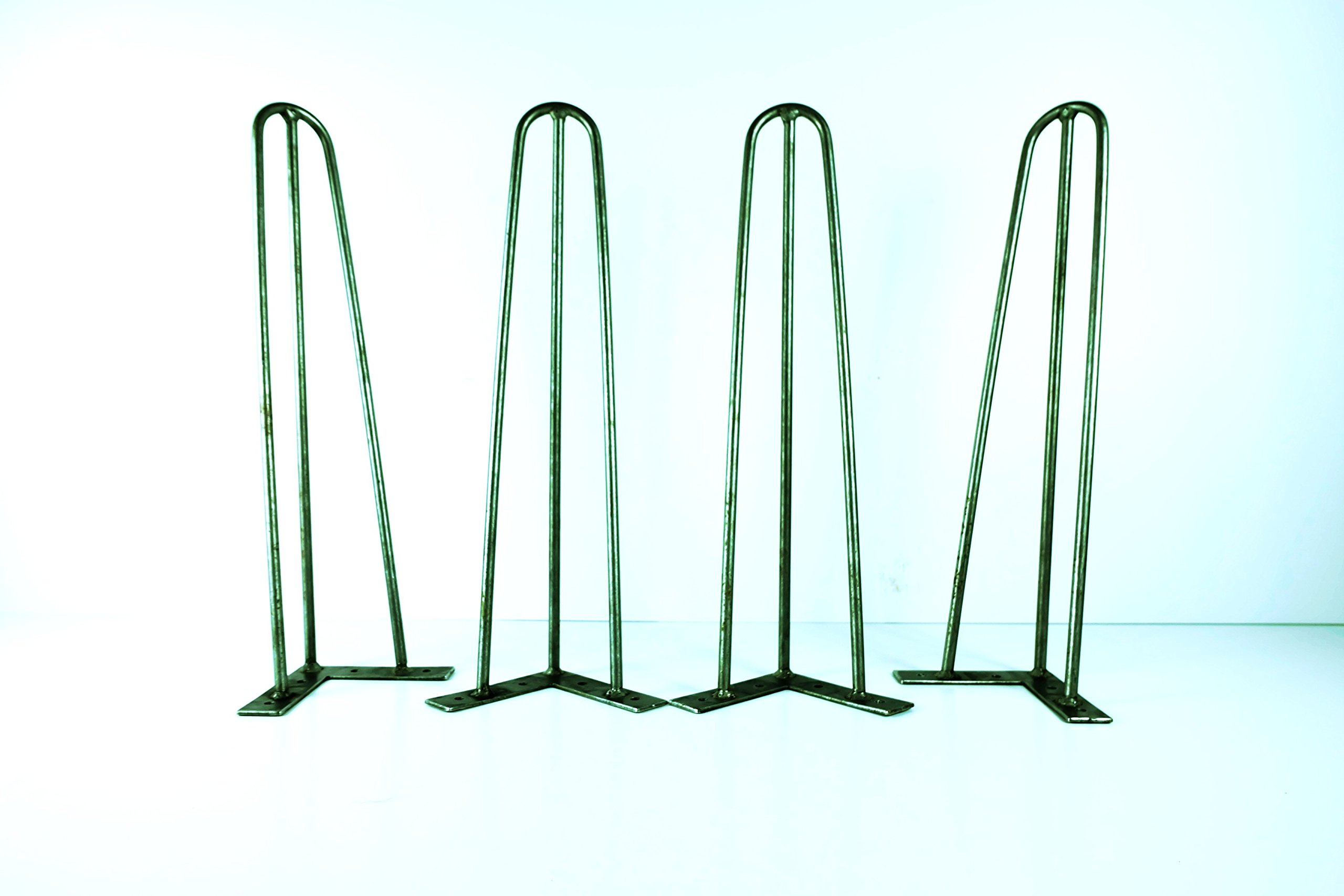 36'' Tall 3 Bar Hairpin Legs, 3/8'' Solid Steel, Powder Coated Satin Black, Set of 4
