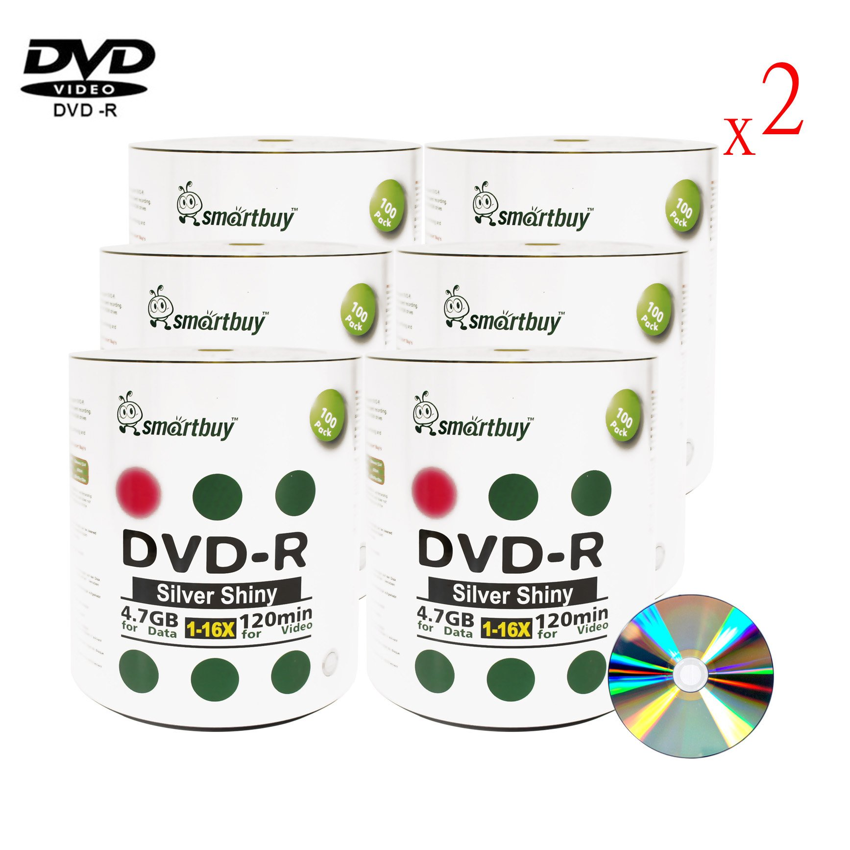 Smartbuy 1200-disc 4.7gb/120min 16x DVD-R Shiny Silver Blank Data Recordable Media Disc