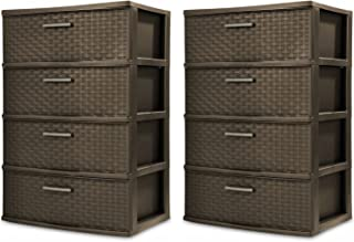 product image for Sterilite 4-Drawer Wide Weave Tower, Espresso Frame & Drawers w/ Driftwood Handles, 2-Pack