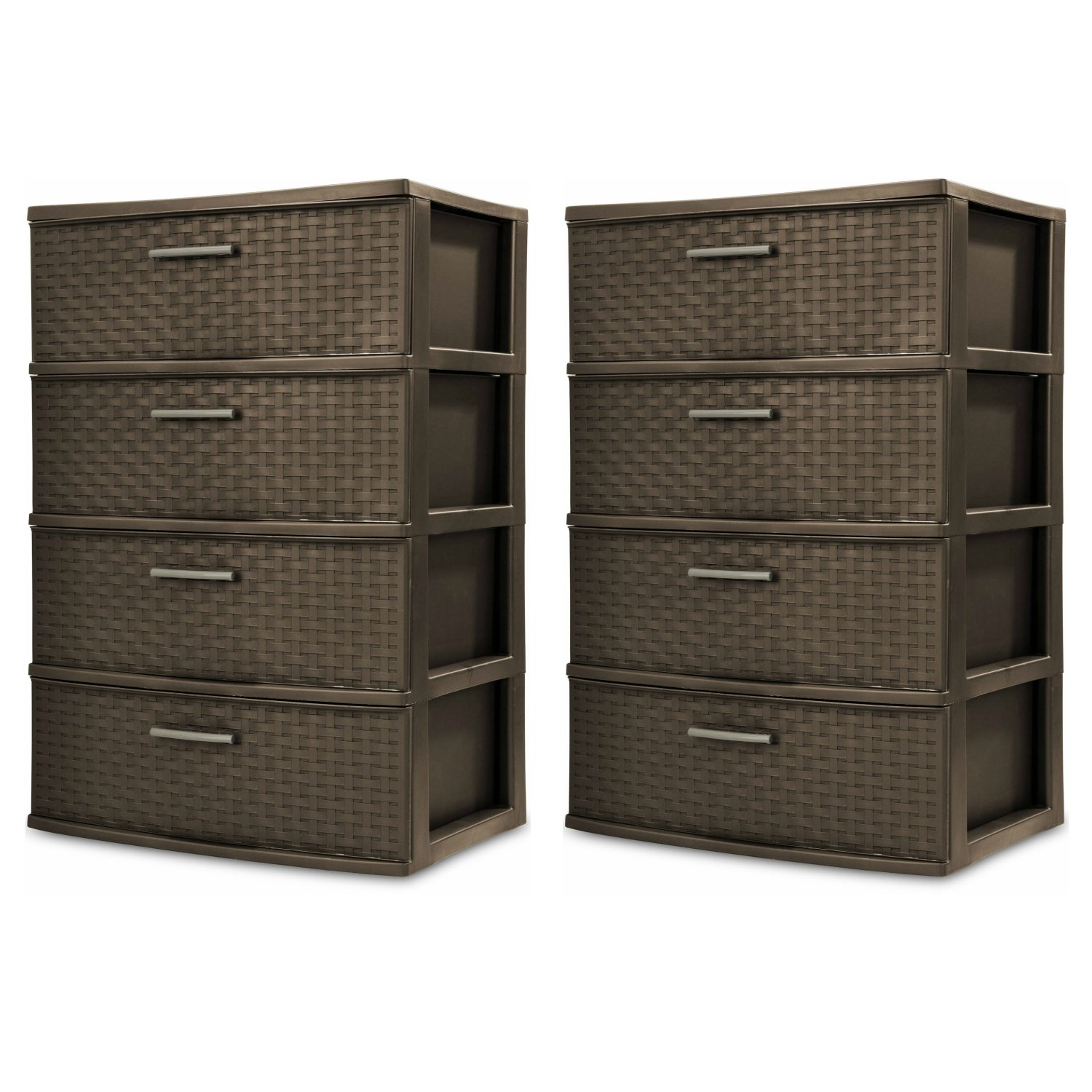 Sterilite 4-Drawer Wide Weave Tower, Espresso Frame & Drawers w/ Driftwood Handles, 2-Pack