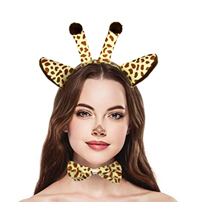 7e59066546f Amazon.com  Lux Accessories Halloween Giraffe Ear Tail Bow Accessories Costume  Set (3PCS)  Jewelry
