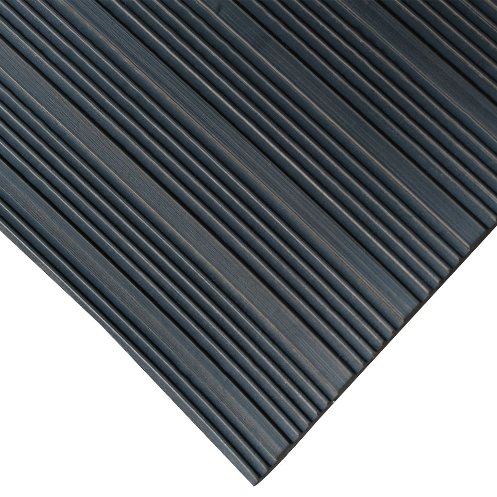 Rubber-Cal 03_168_W_CO_08 Composite Rib Corrugated Rubber Floor Mats, 48'' Wide, 4' x 8' Roll, Black by Rubber-Cal