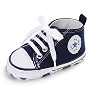 Baby Boys Girls Basic Canvas Sneaker Lace up Infant Prewalk Shoes(0-18 Months) (11cm(0-6 Months), A-Navy)
