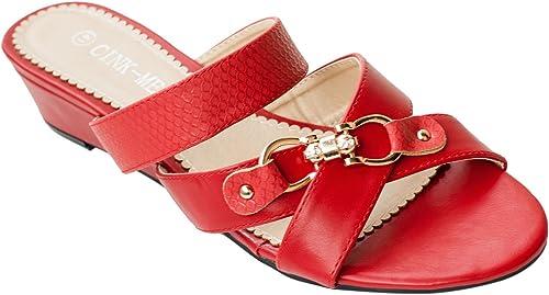 sandales compensées a brides rouge talon 5cm