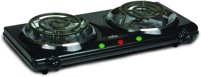 Salton HP1427 Portable Double Cooktop, 3.45 lb, Black