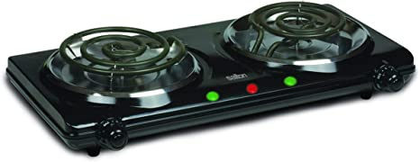 Amazon Com Salton Portable Double Cooktop 3 45 Lb Black Kitchen Dining