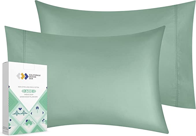 California Design Den 600 Thread Count Pillowcase Set Of 2 100 Long Staple Combed Cotton Breathable Soft Sateen Weave Luxury Hotel Quality Pillow Cases King Sage Amazon Ca Home Kitchen