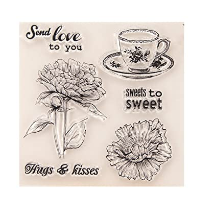 Horenme Decorative Clear Coffee Cup Transparent Stamp DIY Silicone Rubber Scrapbooking
