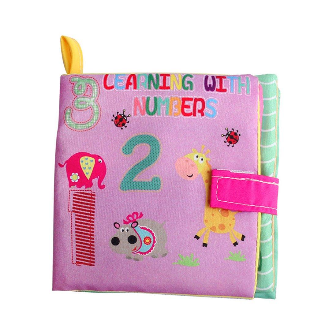 Dearmy Bebé primero Libro No tóxico Tela Suave Libro de tela Educación temprana Juguetes Letras/ Formas / Animales / Números Cognitivo Desarrollo Juguete regalo (número)