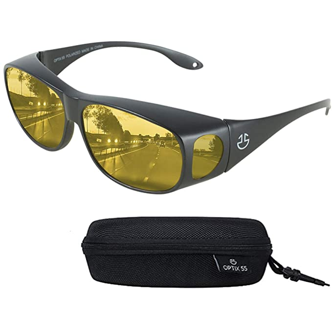 8e62c1ceae6d Night Driving Glasses Anti Glare Polarized, HD Night Vision Driving  Wraparounds - Yellow Tinted Nighttime