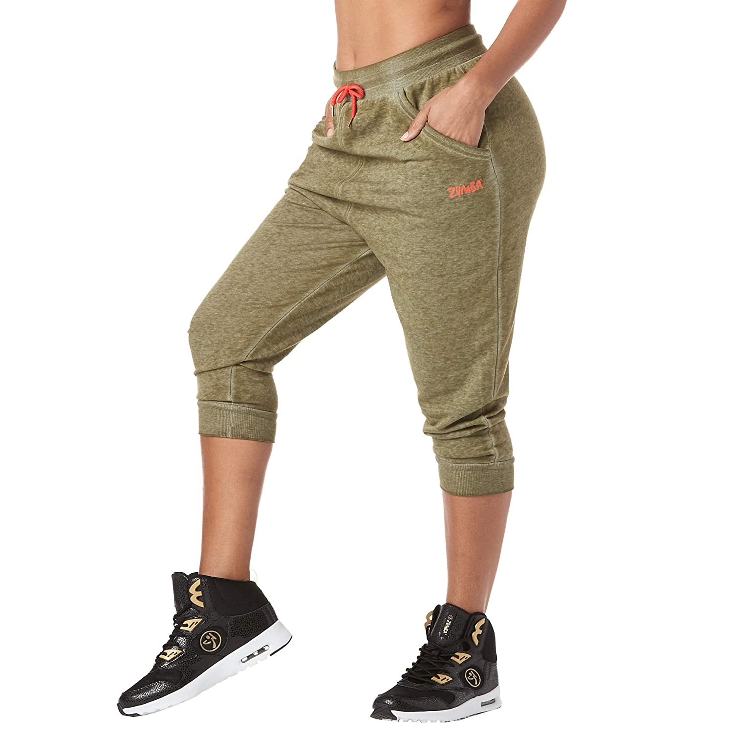 X-Large Zumba Womens Soft Breathable Activewear Harem Capri Workout Pants Army Green