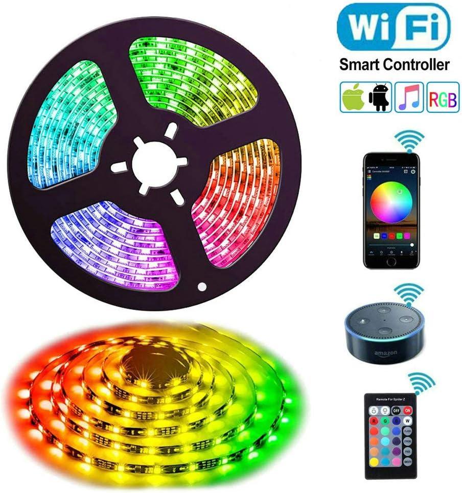 RGB Tira Led Alexa, Uzone WiFi 5050 RGB 5m Luces de Tira LED Impermeable Control de Voz, Compatible con Alexa Echo, Google Home, Controlador y Adaptador de Corriente, Decoración para Home Garden Bar