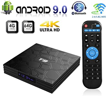 Android TV Box, T9 Android 9.0 Smart TV Box 4GB RAM 64GB ROM RK3318 Quad Core
