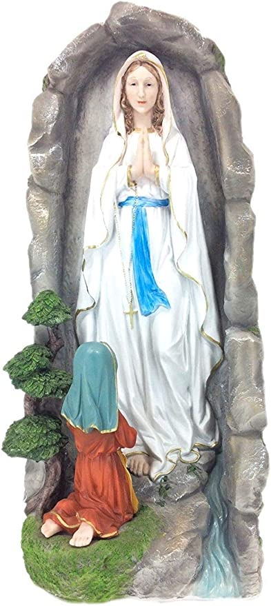 "Statue 10/"" Our Lady of Lourdes Mother Rosary Holder Mary Ceramic Statue"