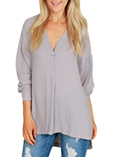 5f362994928b Freestyle Damen Sommer Tops Sweatshirt Blouse Casual Locker Einfarbig  Chiffon Hemden Sexy V-Neck Langarmshirts