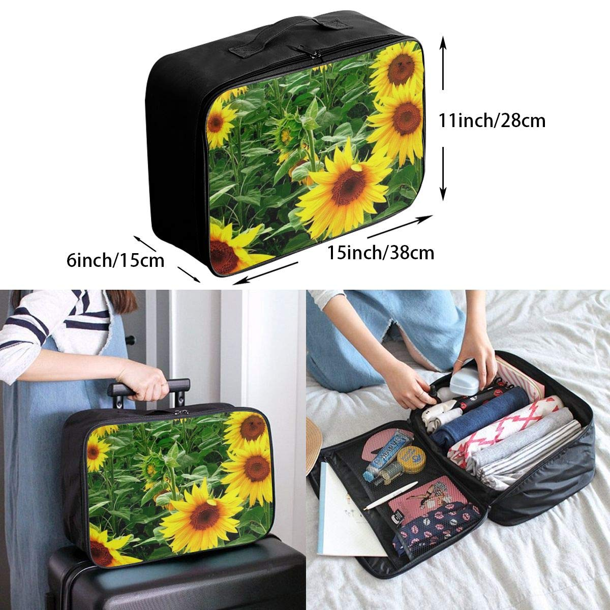 Travel Duffle Bag Sunflowers Patterned Weekender Bag Water Repellent Foldable Nylon Luggage Duffel Bag For Sports Holiday Tote Bag In Trolley Handle Party Gym