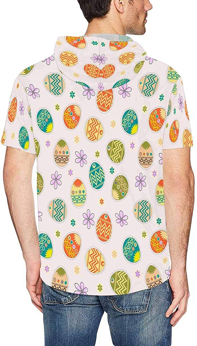 INTERESTPRINT Mens Short Sleeve Hoodies Pullover Easter Egg Drawstring Hooded Tops XS-2XL