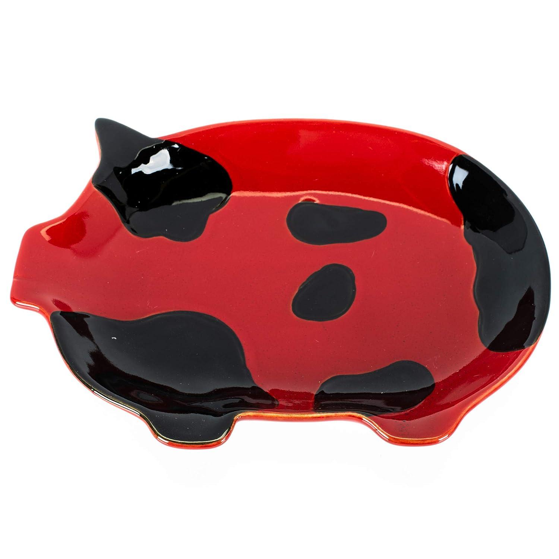 Ceramic Pig Plate Red /& Black Set of 2