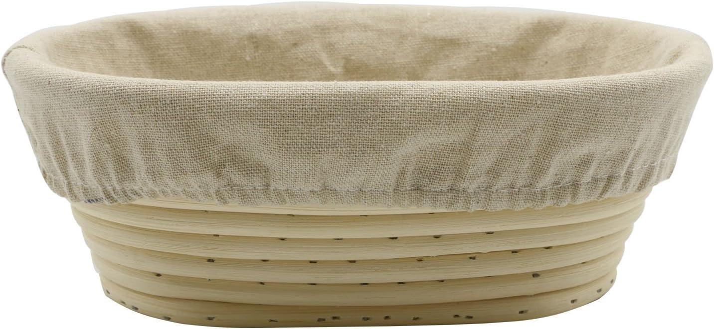 Stormshopping 8 inch Oval Long Banneton Brotform Bread Dough Proofing Rising Rattan Basket & Liner