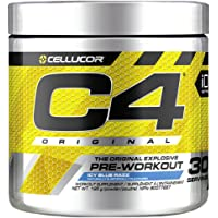 Cellucor C4 Original Pre Workout Powder, Energy Drink Supplement with Creatine, Nitric Oxide & Beta Alanine, Icy Blue Razz, 30 Servings